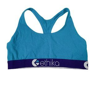 Ethika Teal Purple Logo Band Racerback Sports Bra